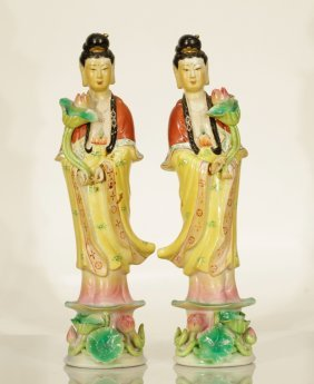 Pair Of Chinese Porcelain Ladies