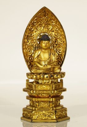Japanese Gilt Lacquer Carved Buddha