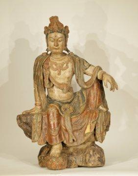 A 19/20th C Chinese Wood Guanyin