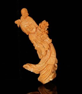 Chinese Coral Carving Of A Lady