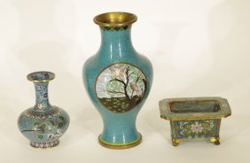 3 Pieces Of Chinese Enamel Vases & Planter