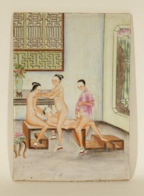 Chinese Erotic Porcelain Plaque Possible Republic