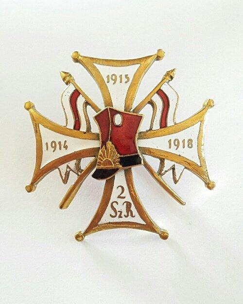 Antique Polish Bronze w/ red enamel military badge