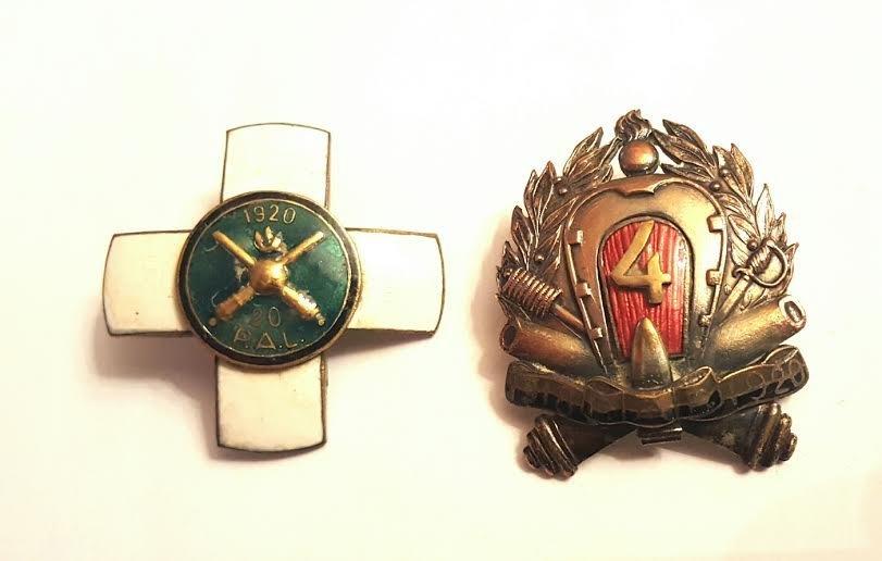 Antique Polish Bronze Enamel Artillery badges