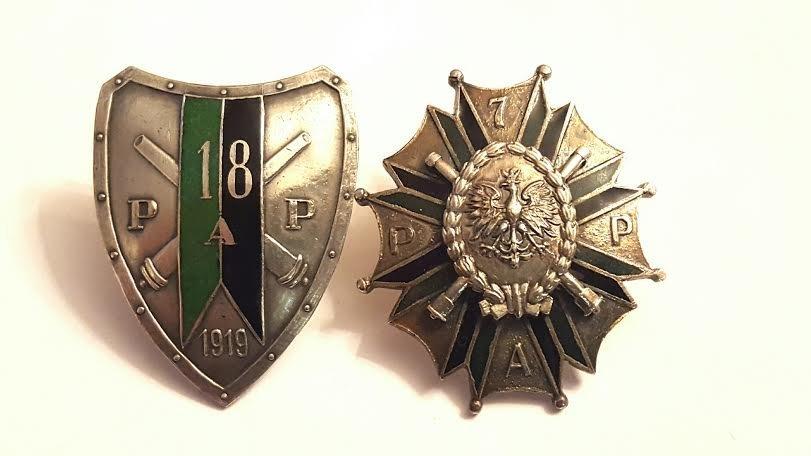 Antique Polish silvered Bronze and enamel Badge