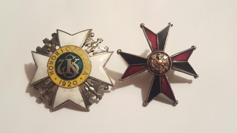 Antique Polish Enamel Pair of Badges