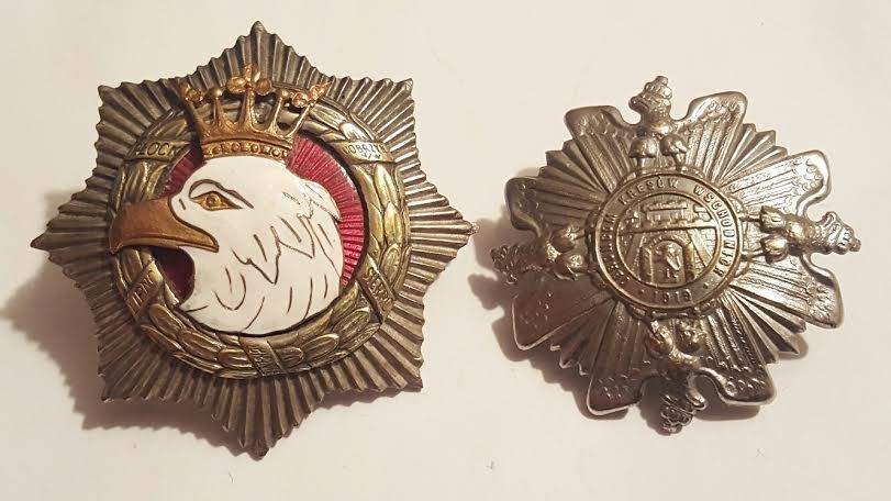 Antique Polish Enamel Pair of Badges.