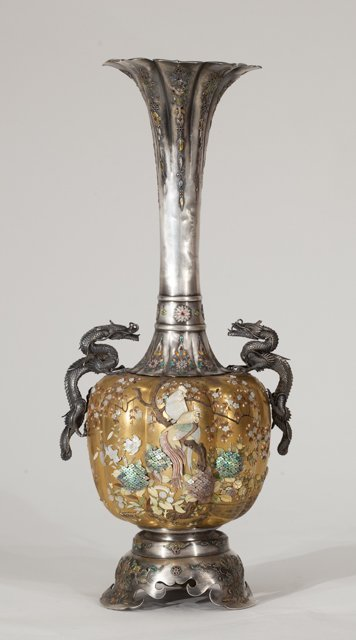 Magnificent Japanese Silver Top Quality Vase
