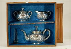Chinese Export 19th C Silver Tea Set Sterling