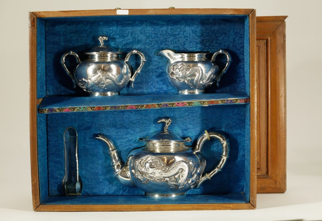Chinese Export 19th C. Silver Tea Set Sterling