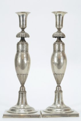 Pair Of Early 19th C. European Candle Holders