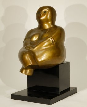 "Russian Bronze ""yuri Krasni"" Sculpture Of Fat Lady"