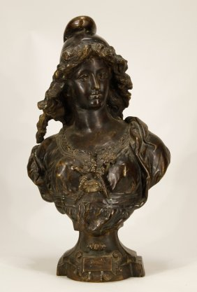 European Bronze Bust Of A Lady