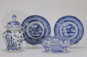 4 Pieces Of Chinese Blue/white Porcelain Dishes