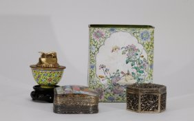 4 Pieces Of Chinese Enamel Bronze & Silver Vase
