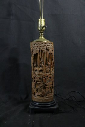 Chinese Bamboo Carving Lamp W/ Figure And Scholar