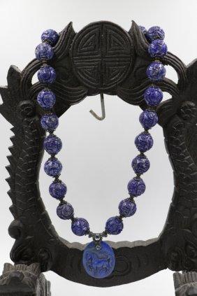 Chinese Lapis Necklace W/ Lapis Pendant
