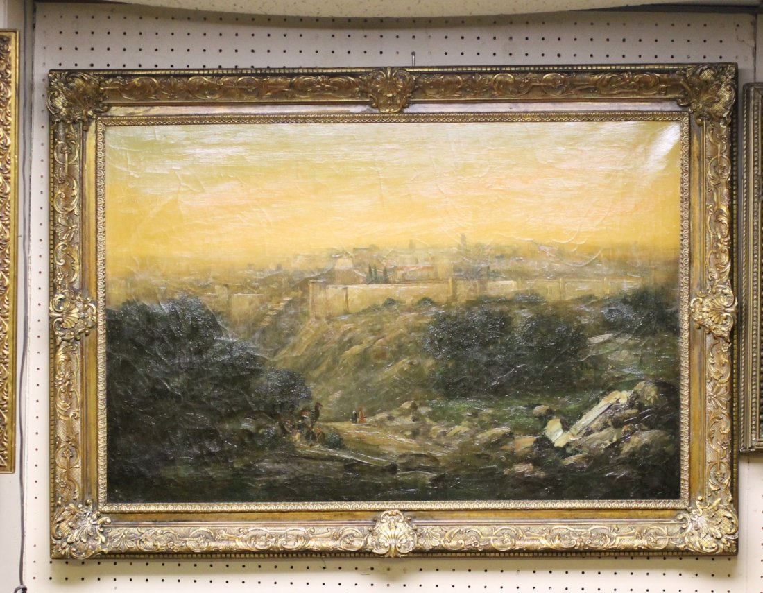 Signed Oil on Canvas View of Jerusalem