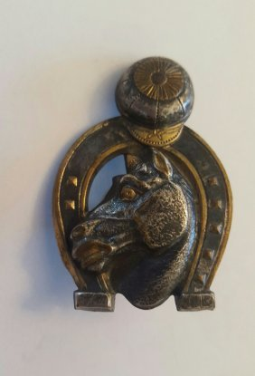 Antique Russian bronze Jockey badge