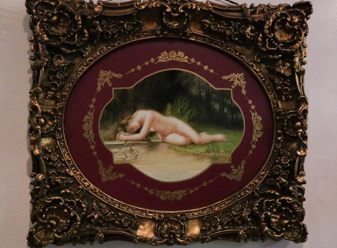 20th C. Oval Shape Painting on Porcelain Plaque