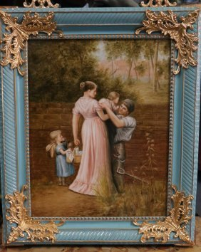 Italian Hand-Painted Porcelain Painting w/ Woman