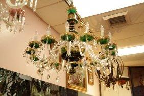 Czechoslovakia 15 lights Crystal Overlay Chandelie