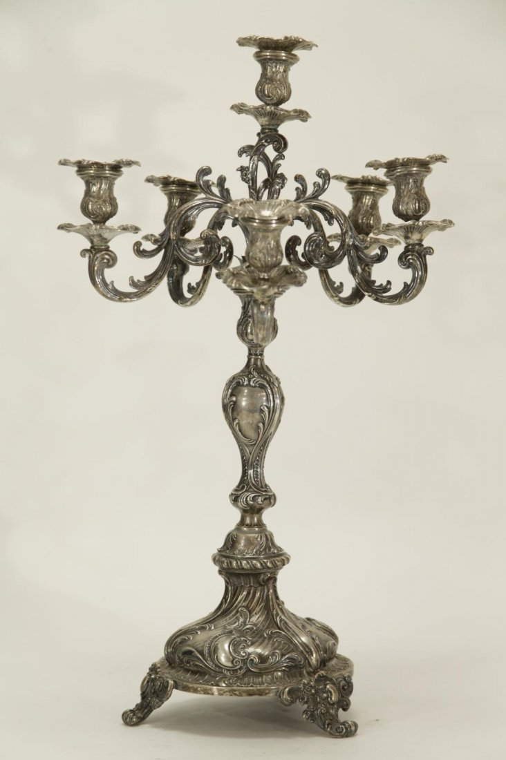 Silver Six Branches Candle Braun - 19th C. - 10