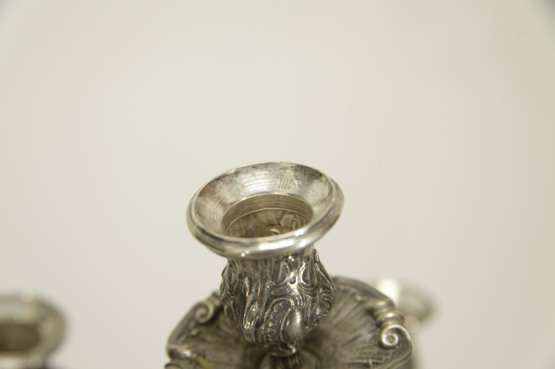 Silver Six Branches Candle Braun - 19th C. - 8