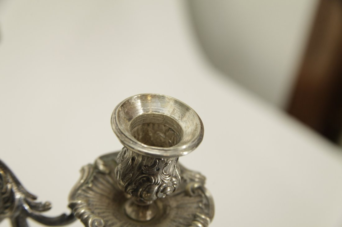 Silver Six Branches Candle Braun - 19th C. - 9