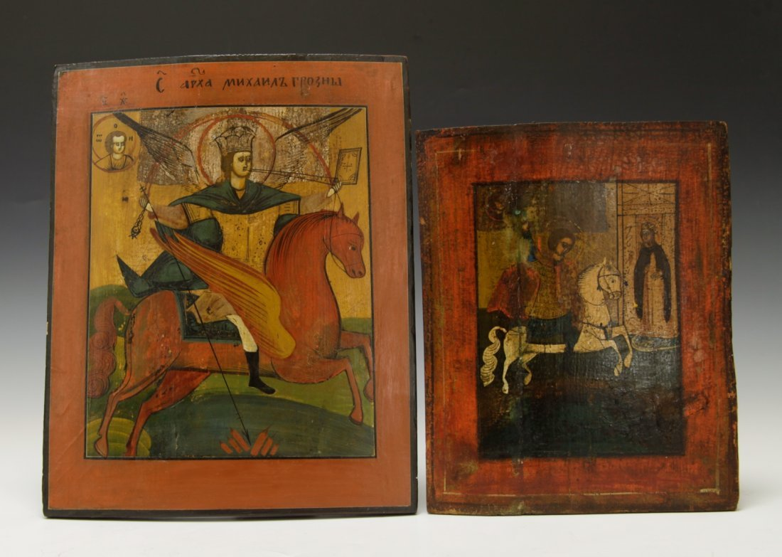 19th C. Two Russian Icon of St.George & St.Mikhail