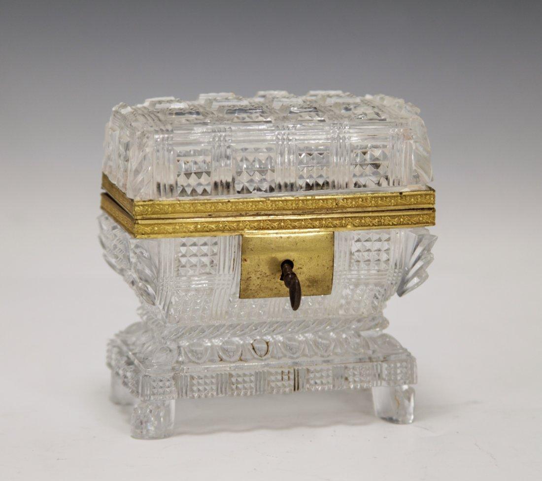 19th C. French Cut Crystal Jewelry Box w/ Lock key