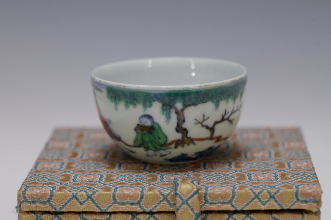 """Chinese Porcelain DouCai Cup, Marked """"Kangxi"""" - 2"""