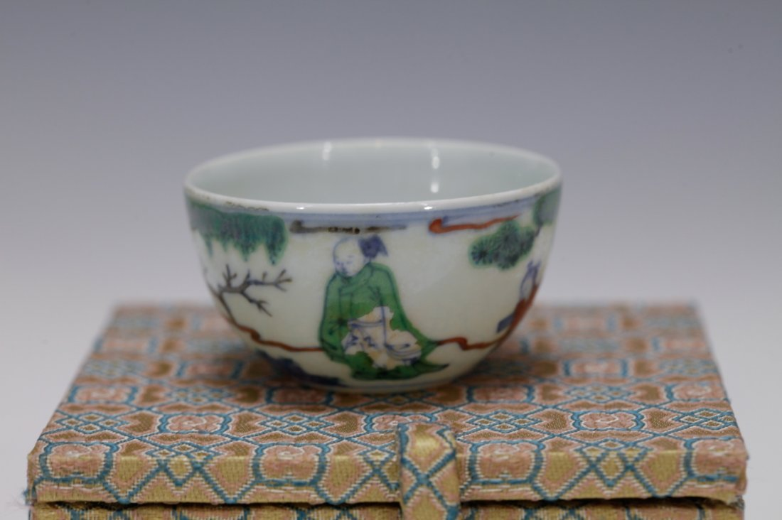 """Chinese Porcelain DouCai Cup, Marked """"Kangxi"""" - 3"""