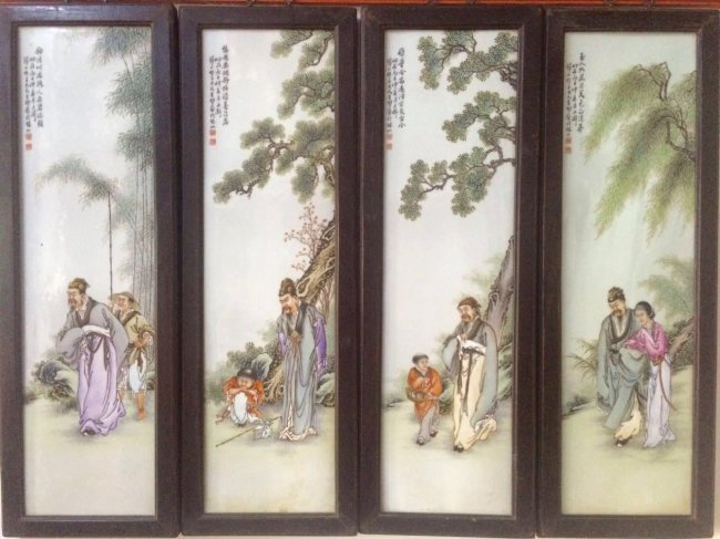 Set of 4 Chinese Famille Rose Plaque, Marked