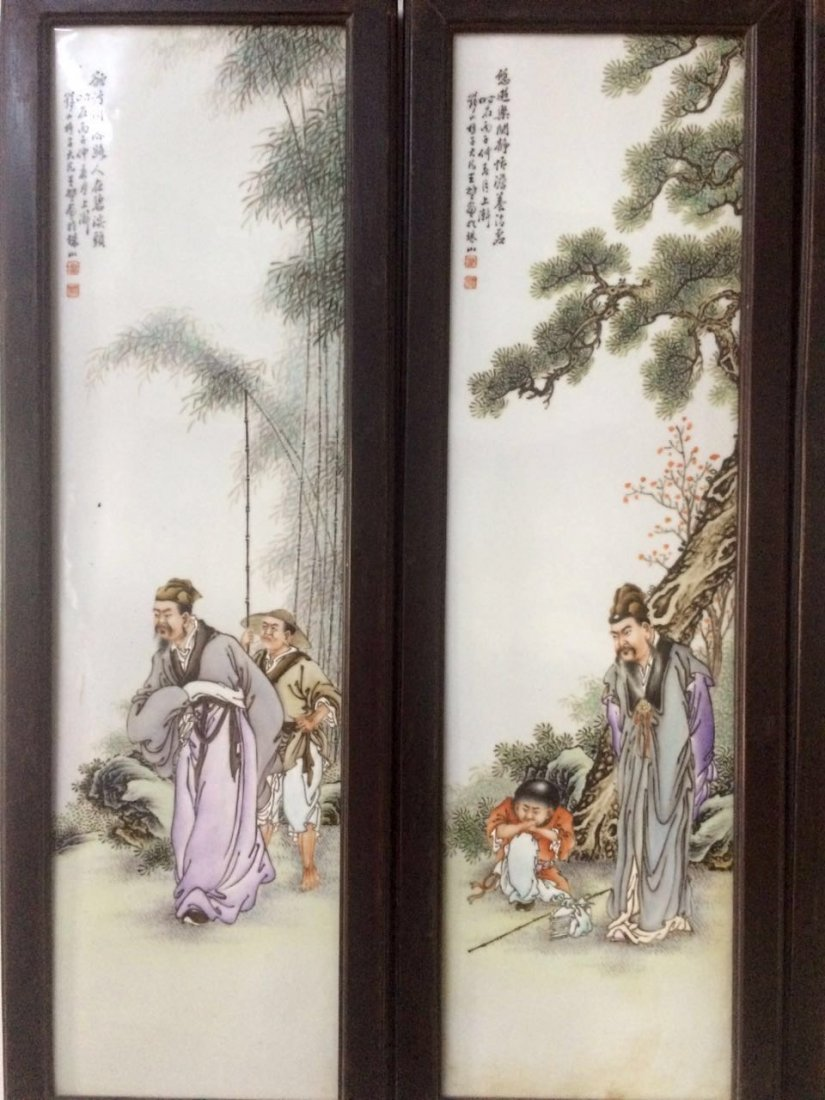 Set of 4 Chinese Famille Rose Plaque, Marked - 2
