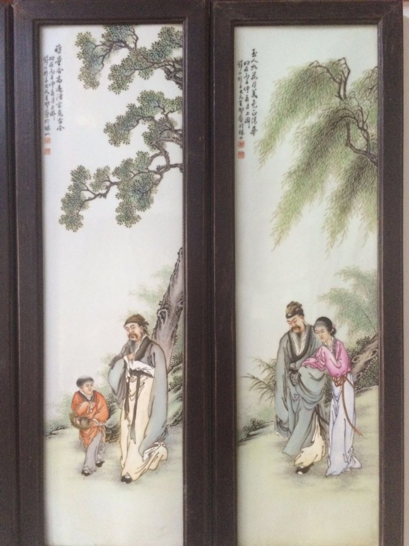 Set of 4 Chinese Famille Rose Plaque, Marked - 3