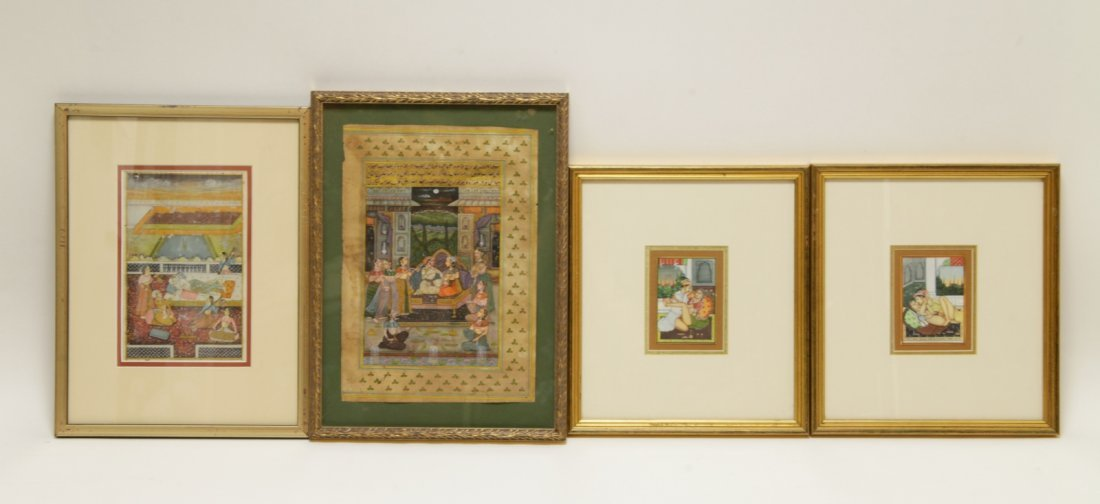 4 Pieces of Indian Color Painting w/ Frame