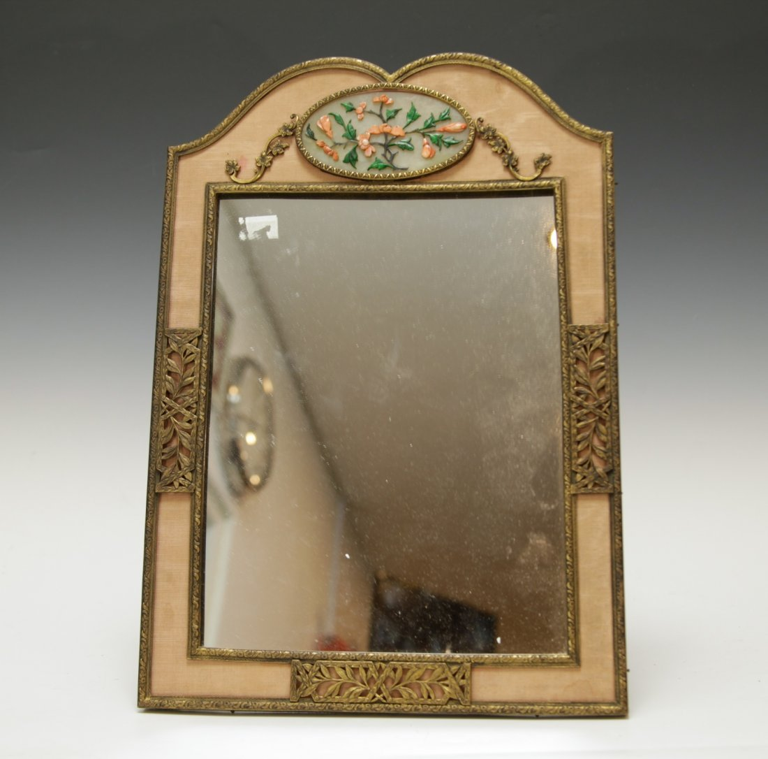 A Old Gilt Bronze Inlaid Mirror w/ Coral &Gemstone