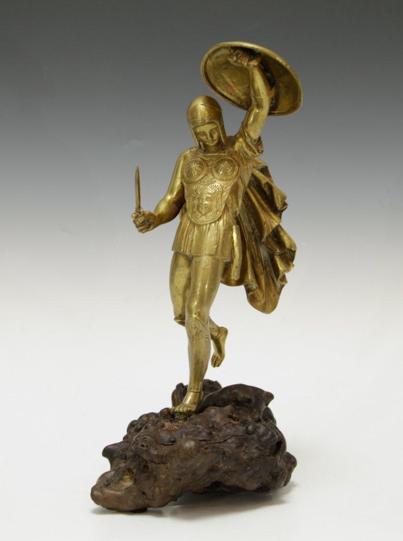 European Gilt Bronze Statue w/ Root Stand