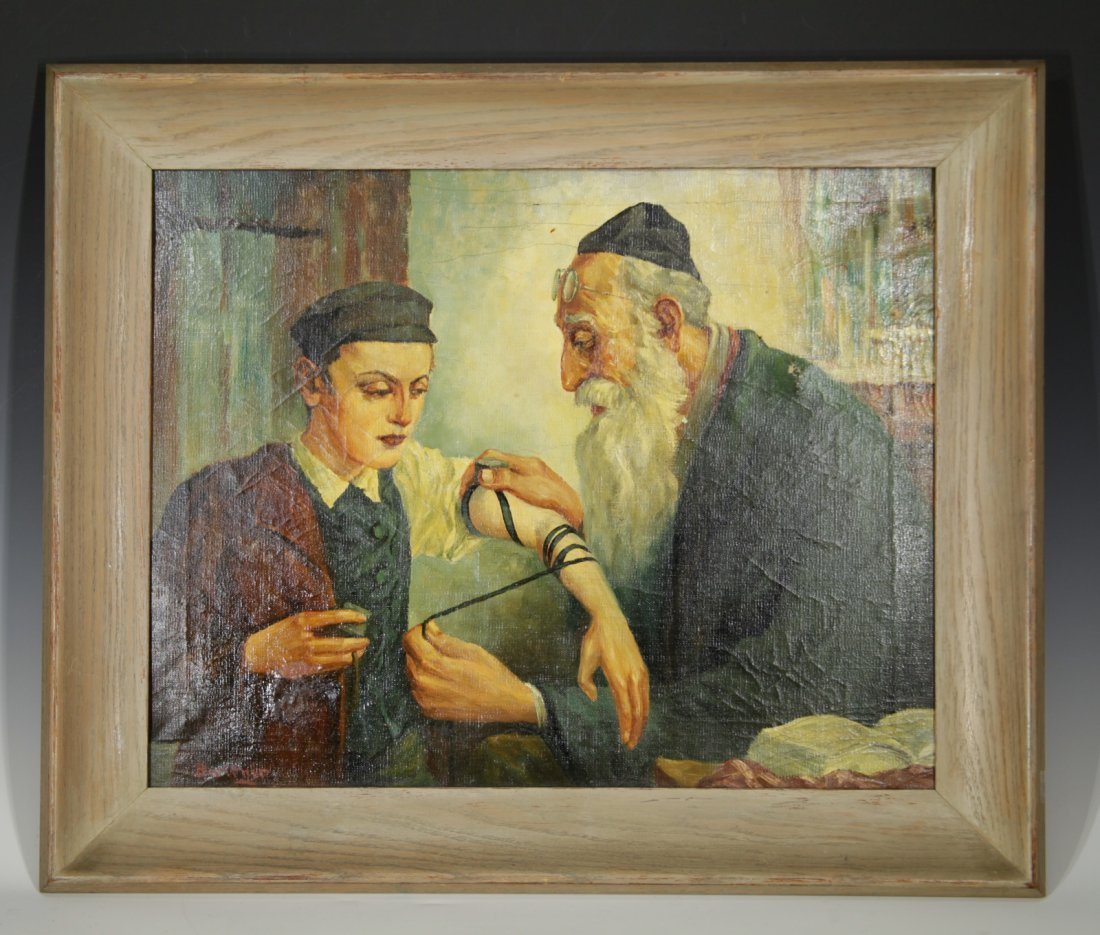 Oil on Canvas Rabbi w/ Son, Signed