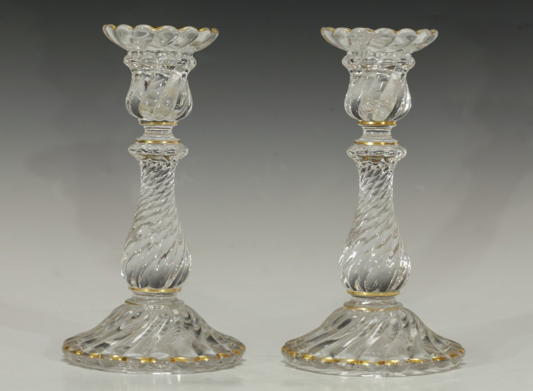 Pair of Baccarat Candle Crystal Sticks Signed