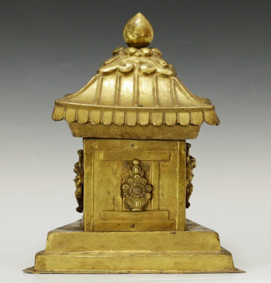 Rare Tibetan 19th C. Bronze Gilt Temple Top