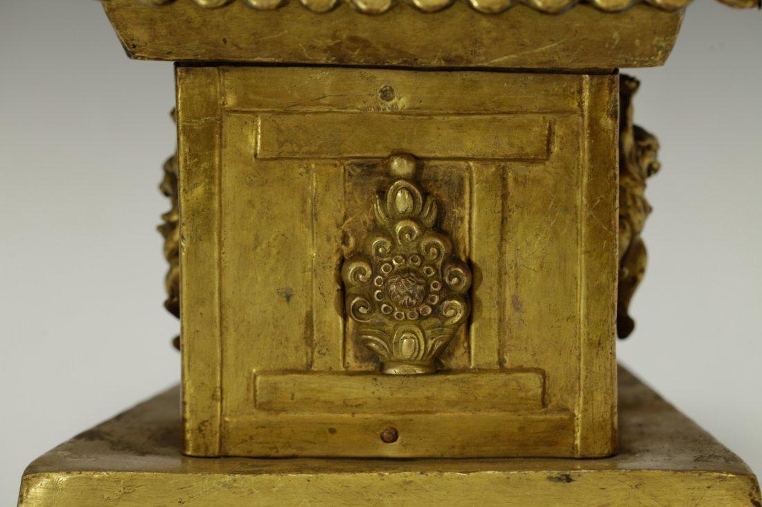 Rare Tibetan 19th C. Bronze Gilt Temple Top - 3