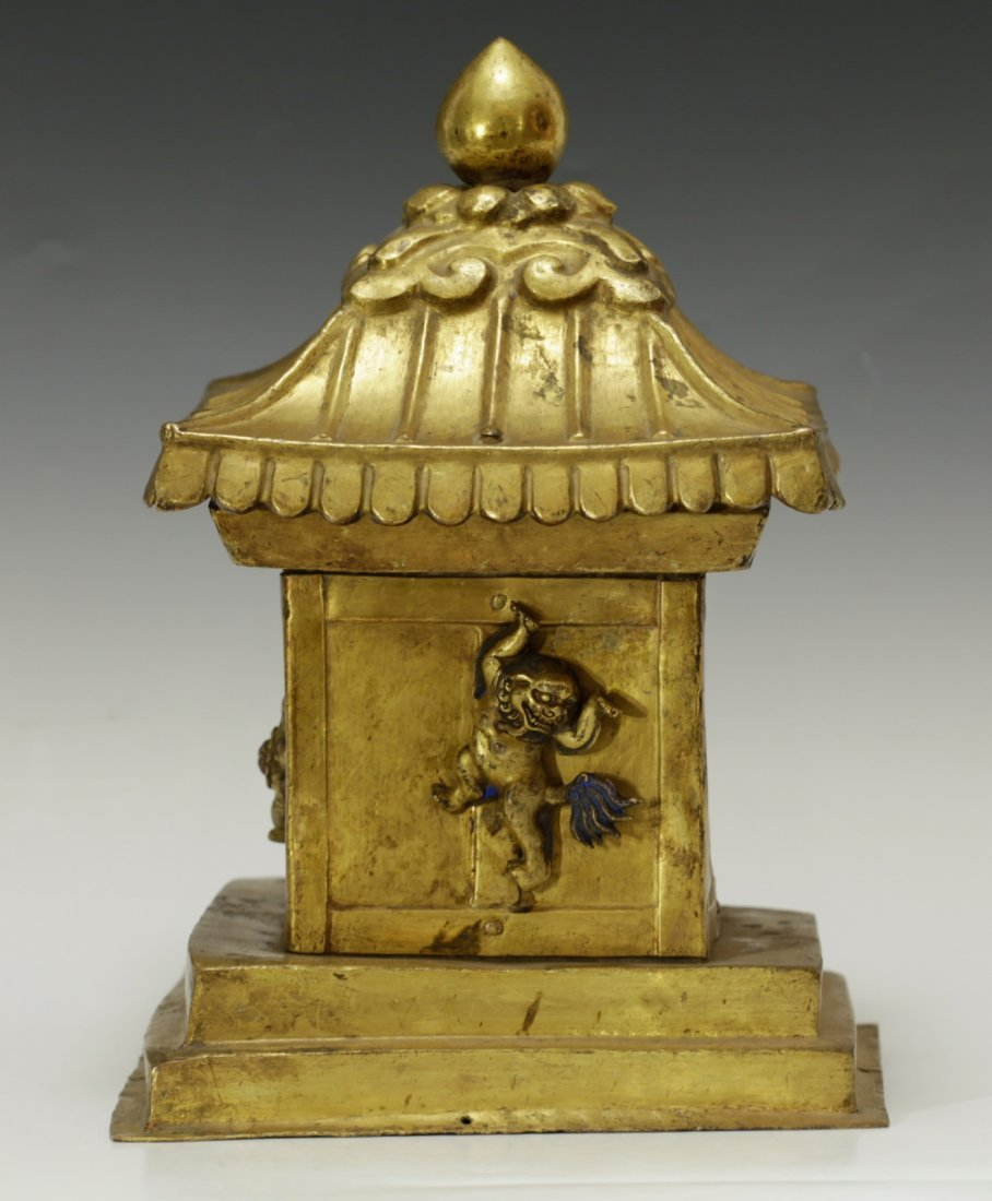 Rare Tibetan 19th C. Bronze Gilt Temple Top - 5