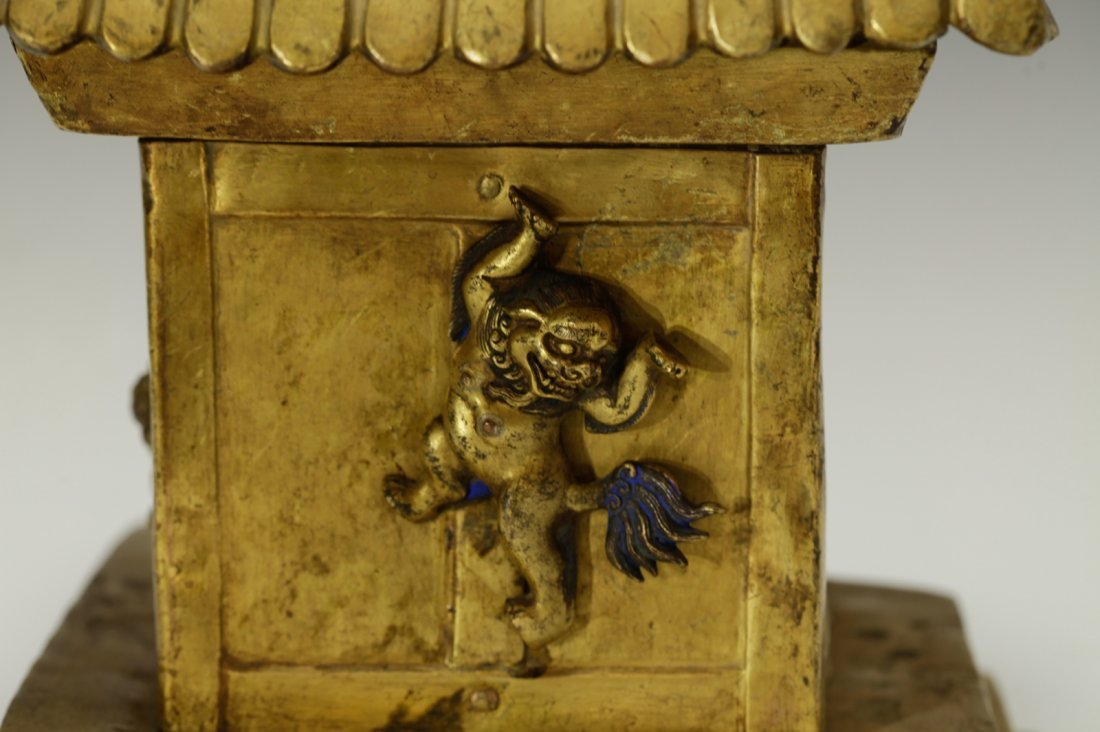Rare Tibetan 19th C. Bronze Gilt Temple Top - 6