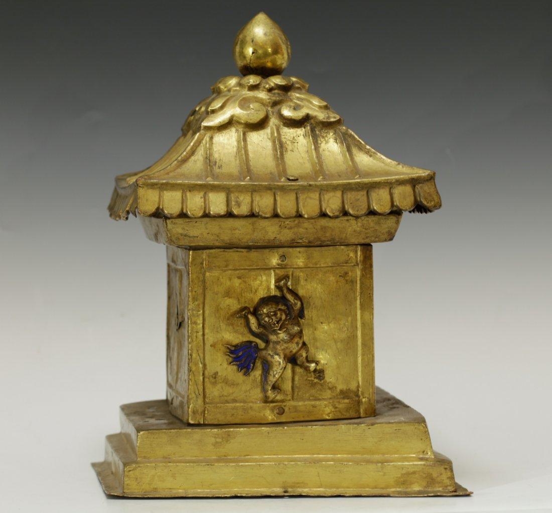 Rare Tibetan 19th C. Bronze Gilt Temple Top - 8
