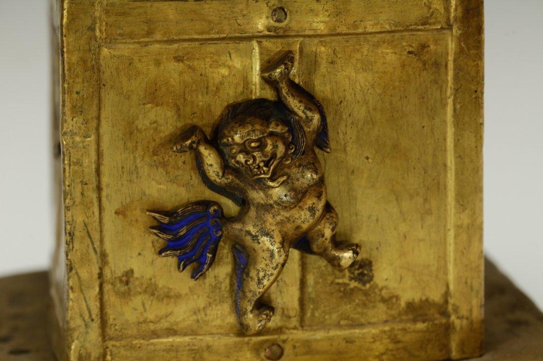 Rare Tibetan 19th C. Bronze Gilt Temple Top - 9