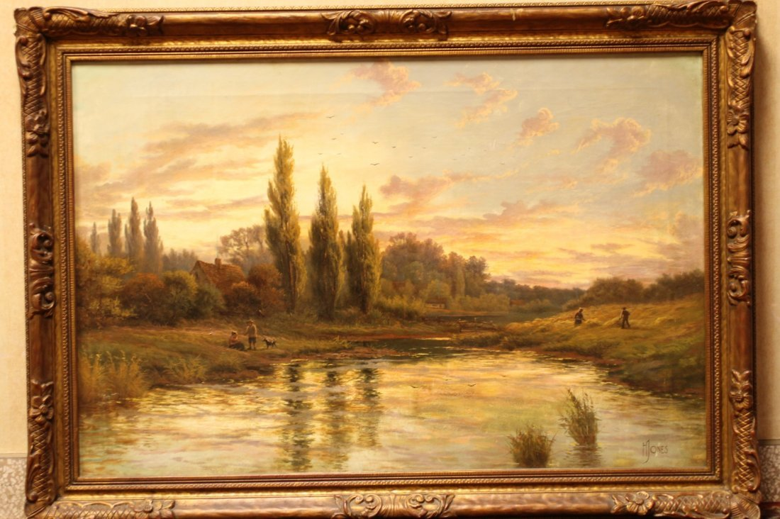 Oil Painting on Canvas, of Sunset Scene, Signed