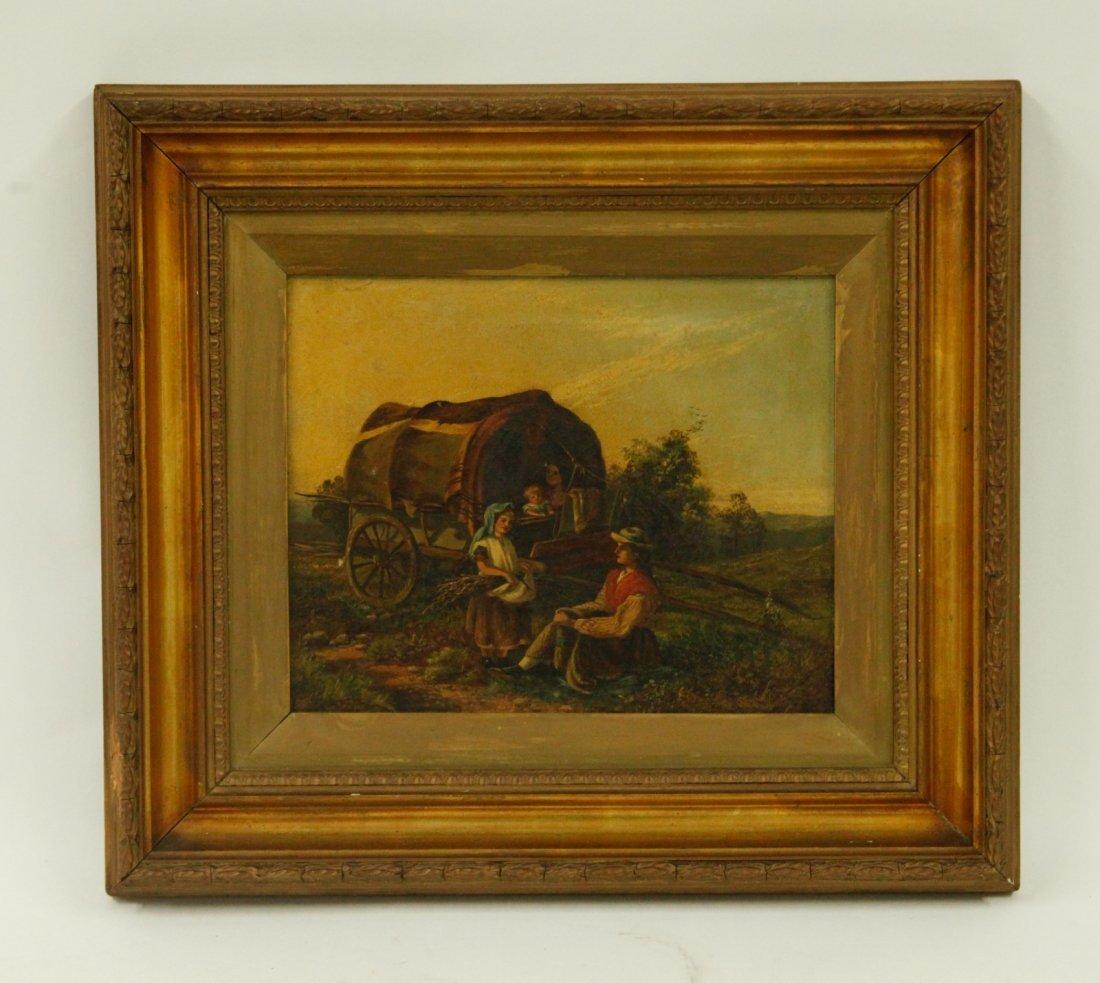 European Gilt Frame Oil on Canvas, Signed