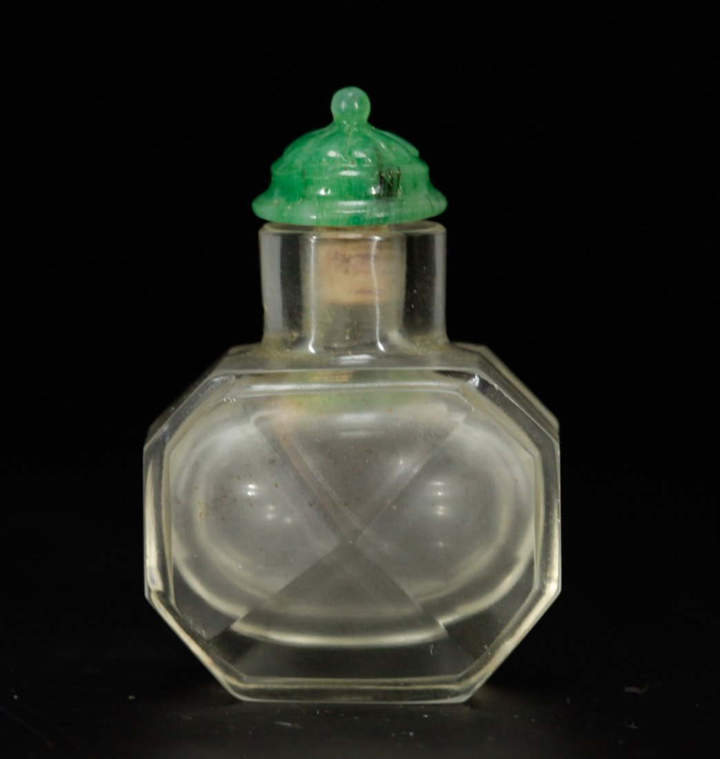 A Faceted Clear Glass Snuff Bottle